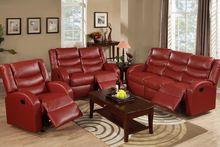 Burgundy Bonded Leather Reclining Sofa & Loveseat Set F6657-58