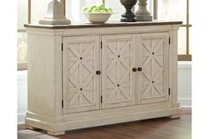 Bolanburg - Antique White - Dining Room Server by Signature Design by Ashley. Get your Bolanburg - Antique White - Dining Room Server at JB's Furniture, Milwaukee WI furniture store. Dining Room Server, Dining Room Storage, Buffet Server, Dining Room Chairs, Dining Room Furniture, Farmhouse Furniture, Country Furniture, Furniture Decor, Buffet Tables