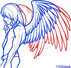 How to Draw an Angel Boy, Angel Man, Step by Step, Fantasy ...<<good reference wings for what Im drawing