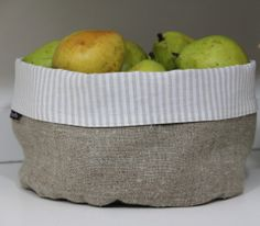 Natural Linen Basket. Choice of two sizes and five interior colors madisonandmuse.com