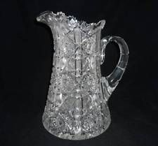LARGE AMERICAN BRILLIANT CUT GLASS PITCHER - 12""