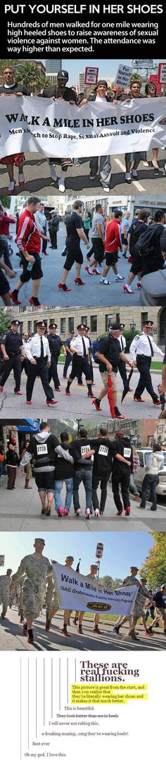 Funny pictures about Walking a mile in her shoes is what real men do. Oh, and cool pics about Walking a mile in her shoes is what real men do. Also, Walking a mile in her shoes is what real men do. New People, Good People, Amazing People, Inspiring People, I Smile, Make Me Smile, Pray For Venezuela, No Bad Days, Youre My Person