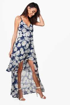 Eliza Floral Chiffon Dip Hem Skater Dress