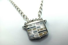 Recycled Car Part Cadillac Emblem Necklace by hioctanejewelry