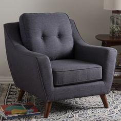 Baxton Studio Medeia Mid-Century Modern Grey Tufted Armchair
