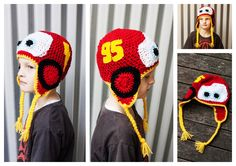 QT Stitch Lightning McQueen Crochet hat