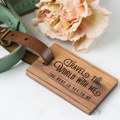 Wood Luggage Tag Valetines | Create Gift Love  This stunning walnut and leather Luggage Tag is the perfect accessory for travelling with a loved one.