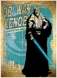 Obi Wan Kenobi Jedi, starwars art, splatter art print, vintage dictionary art