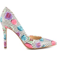 Jessica Simpson Women's Claudette - Pastel Multi Be Mine ($80) ❤ liked on Polyvore featuring shoes, pumps, pointed toe d orsay pumps, patent leather pointed toe pumps, high heel pumps, polka dot pumps and patent leather pumps