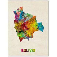 Trademark Fine Art 'Bolivia Watercolor Map' Canvas Art by Michael Tompsett, Multi