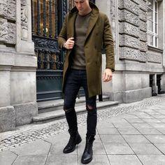 greens // menswear, mens style, fashion, denim, boots, winter, street style, topcoat, overcoat, olive, green, sweater