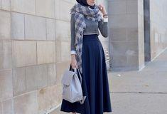Image in Hijab Fashion 👒 collection by NurSademovskii Muslim Women Fashion, Womens Fashion, Uni Outfits, Niqab Fashion, Hijab Trends, Maxis, High Waisted Skirt, Style Inspiration, Stylish