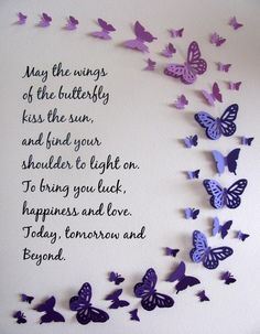Wings of the Butterfly, Irish Blessing Butterfly Word Art. Your Colour & Quote Choices or As Shown. Made to Order Butterfly Quotes, Butterfly Wall Art, Paper Butterflies, Butterfly Crafts, Butterfly Wallpaper, Beautiful Butterflies, Birthday Wishes Messages, Birthday Cards, Color Quotes