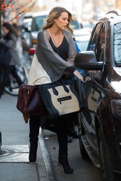 ELLE / Blake Lively in NYC wearing the Alicia Adams Alpaca Multi Band Cape / December 2014