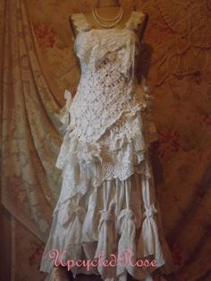 Liliana's  Romance Upcycled Lace Crochet Shabby by UpcycledRose, $479.00