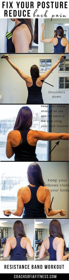 The Hidden Survival Muscle - Upper back exercises that will fix your posture and reduce back pain. A resistance band is all you need for this workout. Fixing upper back posture will help reduce low back and hip pain as well in addition to neck pain. Chronic Lower Back Pain, Upper Back Pain, Neck And Back Pain, Hip Pain, Neck Pain, Upper Back Exercises, Lower Ab Workouts, Belly Fat Workout, Butt Workout