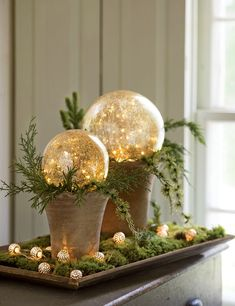 LED Gazing Globes, Set of 2 Use red tray - greens for christmas = perfect coffee table centerpiece! Christmas Globes, Christmas Candles, Outdoor Christmas Decorations, Rustic Christmas, Christmas Holidays, Christmas Bulbs, Holiday Decor, Christmas Arrangements, Floral Arrangements