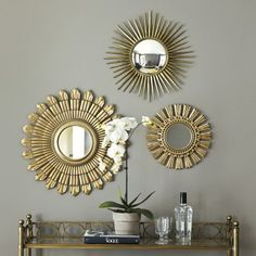 Decoration, Gold Starburst Mirror With Orchid Flower Ornament Cute: Small Starburst Mirrors For Tiny Rooms
