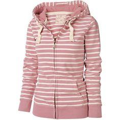 Vonnie Zip Thru Stripe Hoody (1,135 THB) ❤ liked on Polyvore featuring tops, hoodies, sweaters, jackets, blusas, outerwear, women, hooded pullover, red zipper hoodie and zip hoodie