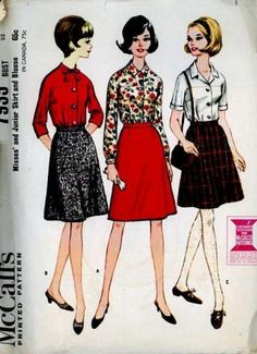 UnCut Vintage 1960s McCalls 7935 Sewing Pattern Retro Blouse & Skirt set size Extra Small Bust 32