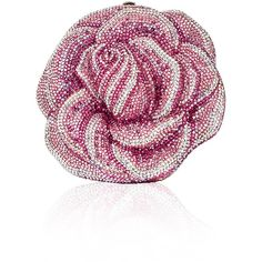 Judith Leiber Couture New Rose Crystal Clutch Bag ($4,995) ❤ liked on Polyvore featuring bags, handbags, clutches, handbags minaudieres, beaded purse, chain strap purse, floral print purse, judith leiber purses and judith leiber minaudiere