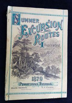 1879 Travel Catalog Summer Excursion Routes PENNSYLVANIA RAILROAD PRR Lots ADS