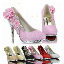 2014 New Crystal Shoes Women Wedding Red Bottoms Platform Wedge High Heels Sexy Woman Pumps Ladies Pointed Floral ShoesChina Mainland