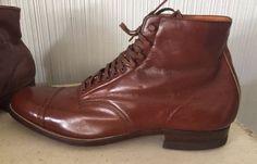 Vintage Leather Florsheim Brown Men's Dress Shoes Lace Up Boots Size 9 10