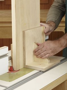 Router-Table Pushblock woodworking plan:  Vertical panel-raising bits let get by with a lower-powered router. The tradeoff? You have to stand panels on edge to make the cut. Use this pushblock in its vertical position to for secure no-wobble control. As a bonus, it flips down for regular horizontal routing as well.