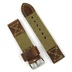 BandRBands 22mm chestnut leather olive canvas watch band :: Click thru for store