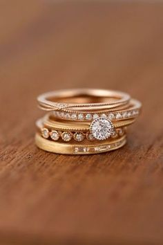 Stacked engagement rings.