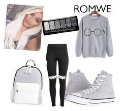 """Untitled #154"" by mirnesa-mirha ❤ liked on Polyvore featuring Converse and Poverty Flats"