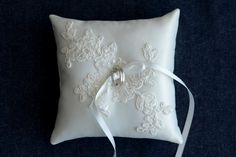 Wedding Ring Pillow, Ring Bearer Pillow, ivory duchess satin ring cushion with beaded applique