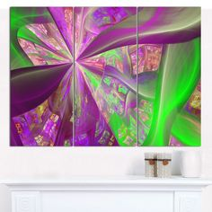 "Designart 'Pink Fractal Curves' Abstract Wall Art on Canvas - 3 Panels 36""x28"""