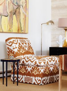 Love the Quadrille Kazak slipper chair and the oomph tini table!