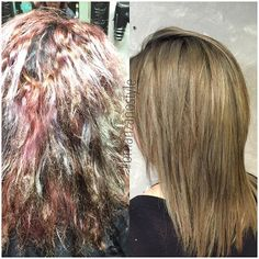 After so many rounds of different colors it was time to change it up, some color correction, #olaplex and #time we were abl -