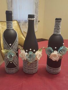 Wine bottles and chalk spray paint