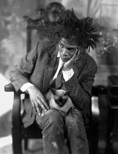 Jean Michel Basquiat and kitty. Photo by James Van Der Zee.