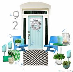 Delineate Your Dwelling-Front door inspiration in turquoise!