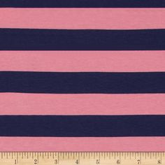 "Riley Blake Jersey Knit 1"" Stripes Navy/Hot Pink from @fabricdotcom  From Riley Blake Fabrics, this lightweight stretch cotton jersey knit fabric features a smooth hand and four way stretch for added comfort and ease. With 50% stretch across the grain and 25% vertical stretch, it is perfect for making t-shirts, leggings, loungewear, yoga pants and more! It features printed horizontal stripes."