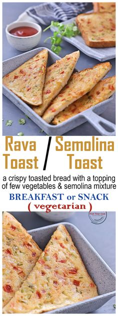 Rava Toast or Semolina Toast or Sooji Toast is a crispy toasted bread with a tasty toppings of few vegetables and semolina mixture. This rava toast is completely vegetarian and comes under open toast category. It can be vegan if vegan yogurt is used.  #vegetarian #Toast #OpenToast #Yogurt #Semolina #ShallowFrying #Vegetables #Onion #BellPepper #Tomato #Carrot #Curd #SoojiToast #RavaToast #SemolinaToast #Snack #Breakfast #EasySnack #Bread
