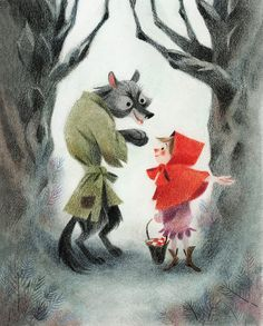 Little Red Riding Hood - Le petit Chaperon Rouge - Geneviève Godbout Red Riding Hood Wolf, Charles Perrault, Red Hood, Children's Book Illustration, Conte, Little Red, Cool Drawings, Vintage Greeting Cards, Fairy Tales