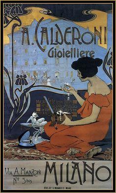 Italian Art Nouveau poster by Adolfo Hohenstein, 1898 Art Nouveau Poster, Poster Art, Retro Poster, Kunst Poster, Art Deco Posters, Vintage Italian Posters, Vintage Advertising Posters, Vintage Travel Posters, Vintage Advertisements