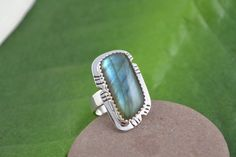 Silver Ring with Labradorite Stone by DeborahCloseDesigns on Etsy