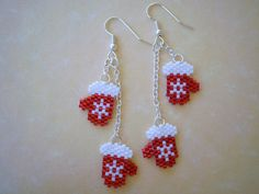 Red Mitten with a White Snowflake Dangle Earrings on Chains by JazminsJewels on…