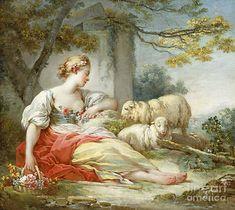 Fragonard Paintings, Jean Honore Fragonard, Thing 1, Cross Stitch Bird, Old Paintings, Renaissance Art, Flower Basket, Antique Art, Landscape Art