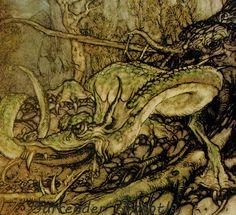 Green Dragon Monster Arthur Rackham Vintage Children's