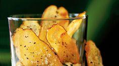 Baked Potato Chips in dip