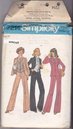 Simplicity 7214 Pattern Uncut size 10 Jacket Vest Wide Leg Pants Pantsuit 1970s