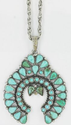 Vintage Native American Sterling Silver Intriguing Turquoise Necklace NA3804 by…